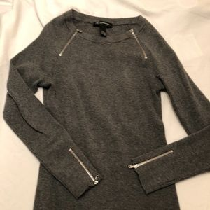 INC Petite M Charcoal Sweater with Zipper details